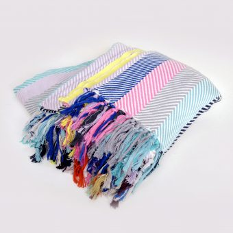 MultiColoured Stripe Herringbone Blanket 4